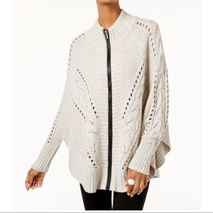 INC Zip-Up Mixed-Knit Poncho Sweater